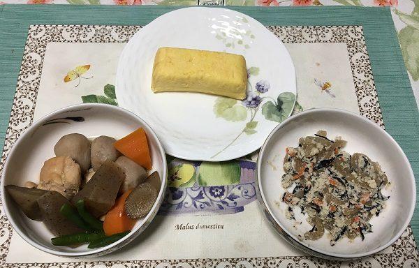 わんまいるの『旬の手作りおかずセット』紀州うめどりの筑前煮、ひじきの白和え、玉子焼き